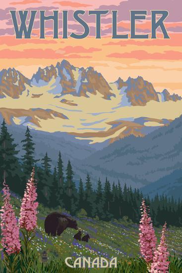 Bear Family and Spring Flowers - Whistler, Canada-Lantern Press-Art Print