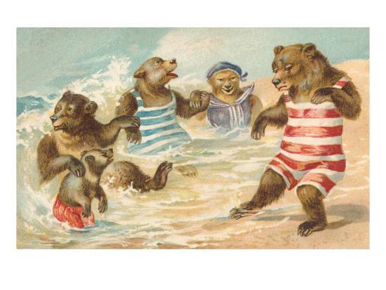 Bear Family Frolicking in Surf--Art Print