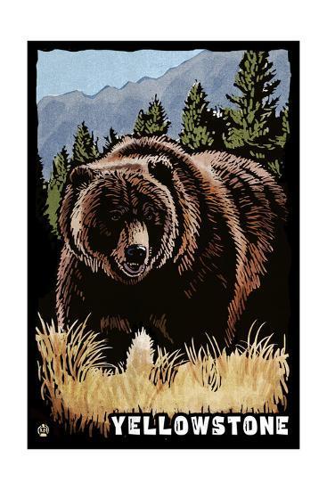 Bear Family - Grizzly Bear Scratchboard-Lantern Press-Art Print