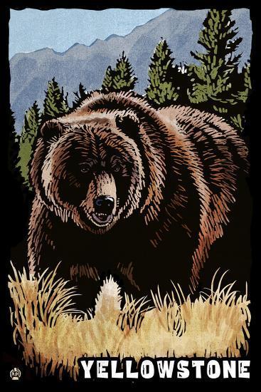 Bear Family - Grizzly Bear Scratchboard-Lantern Press-Wall Mural