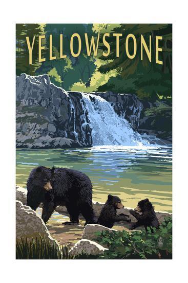 Bear Family - Yellowstone-Lantern Press-Art Print