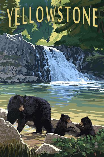 Bear Family - Yellowstone-Lantern Press-Wall Mural