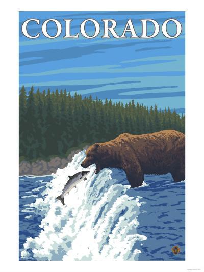 Bear Fishing - Colorado-Lantern Press-Art Print