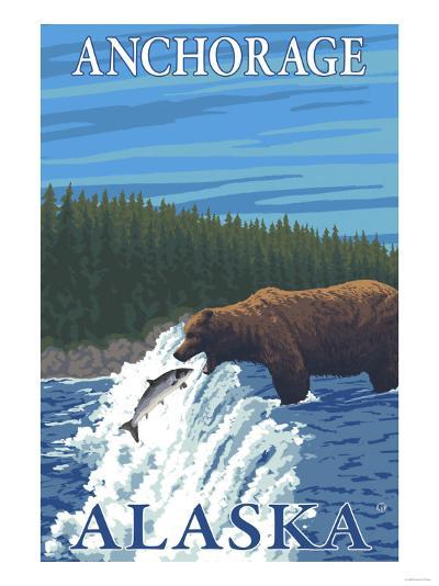Bear Fishing in River, Anchorage, Alaska-Lantern Press-Art Print
