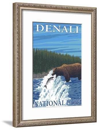 Bear Fishing in River, Denali National Park, Alaska-Lantern Press-Framed Art Print