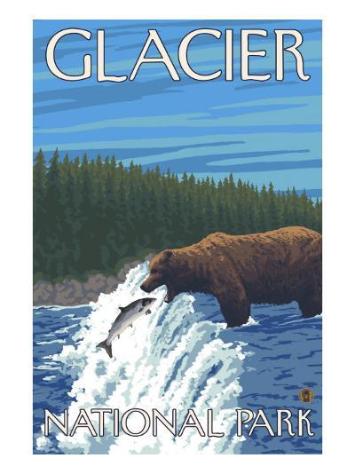 Bear Fishing in River, Glacier National Park, Montana-Lantern Press-Art Print