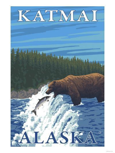 Bear Fishing in River, Katmai, Alaska-Lantern Press-Art Print