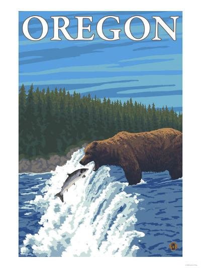 Bear Fishing in River, Oregon-Lantern Press-Art Print