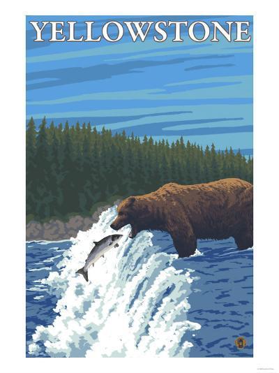 Bear Fishing in River, Yellowstone National Park-Lantern Press-Art Print