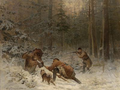 Bear Hunt-Evgeny Alexandrovich Tichmenev-Giclee Print