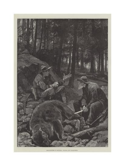 Bear-Hunters in Montana, Victors and Vanquished-Richard Caton Woodville II-Giclee Print