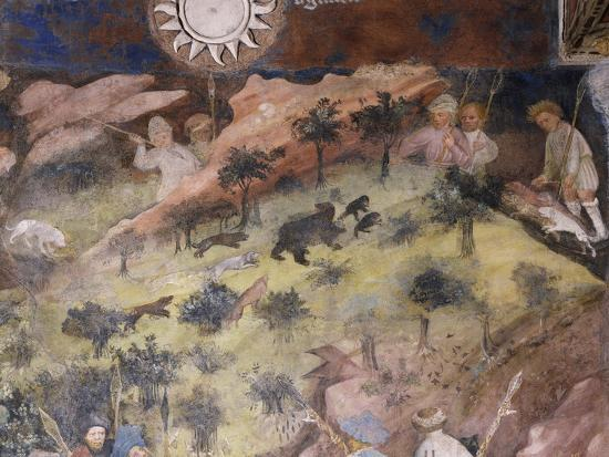 Bear Hunting, Detail from Month of November, Panel Taken from Cycle of Months--Giclee Print