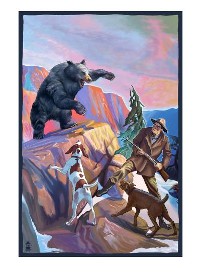 Bear Hunting Scene-Lantern Press-Art Print
