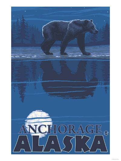 Bear in Moonlight, Anchorage, Alaska-Lantern Press-Art Print