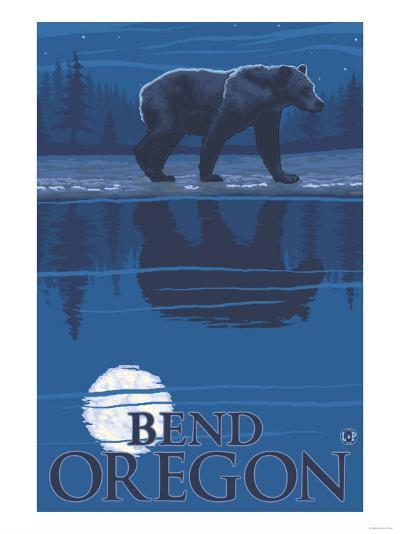 Bear in Moonlight, Bend, Oregon-Lantern Press-Art Print