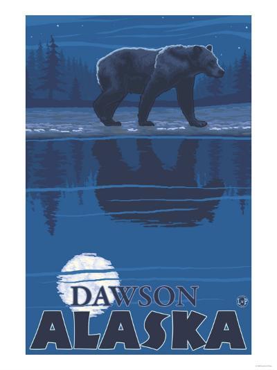 Bear in Moonlight, Dawson, Alaska-Lantern Press-Art Print