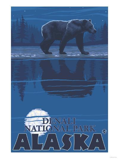 Bear in Moonlight, Denali National Park, Alaska-Lantern Press-Art Print