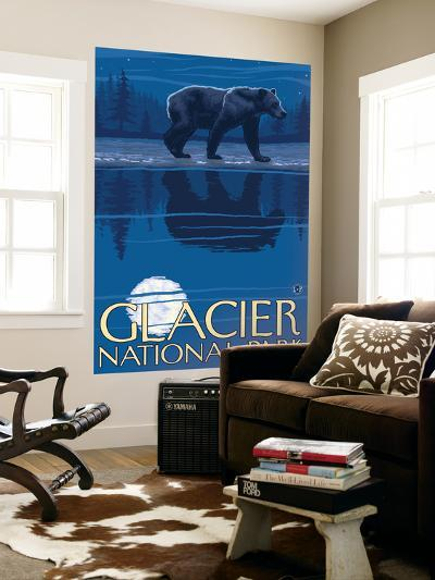 Bear in Moonlight, Glacier National Park, Montana-Lantern Press-Wall Mural