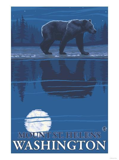 Bear in Moonlight, Mount St. Helens, Washington-Lantern Press-Art Print
