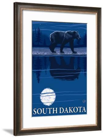 Bear in Moonlight - South Dakota-Lantern Press-Framed Art Print