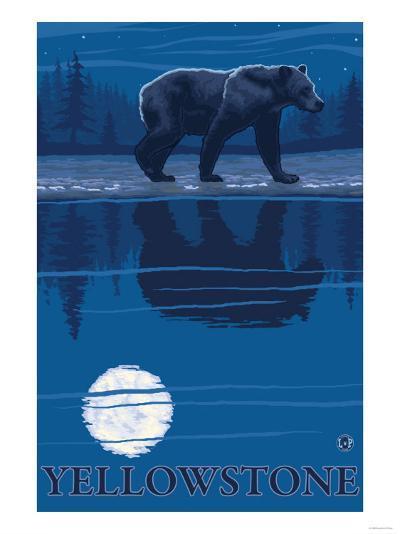 Bear in Moonlight, Yellowstone National Park-Lantern Press-Art Print