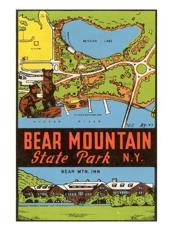 Bear Mountain State Park   Vintage Window DecalBy Lantern Press