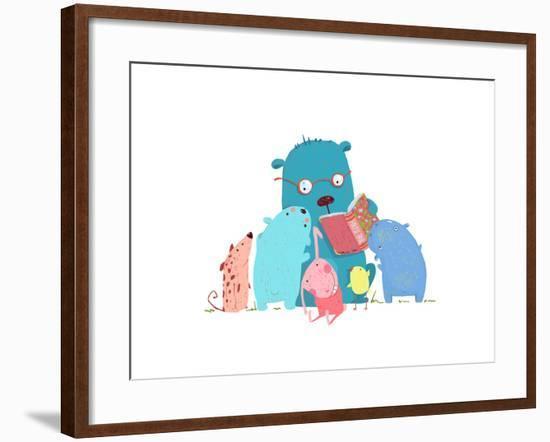 Bear Reading Book for Group of Animal Kids. Children Education and Reading. Child Learning, Teacher-Popmarleo-Framed Art Print