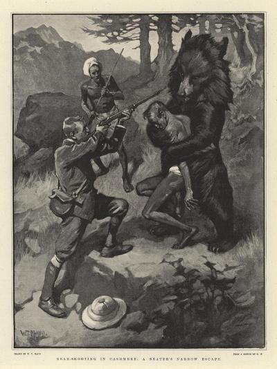 Bear-Shooting in Cashmere, a Beater's Narrow Escape-William T^ Maud-Giclee Print