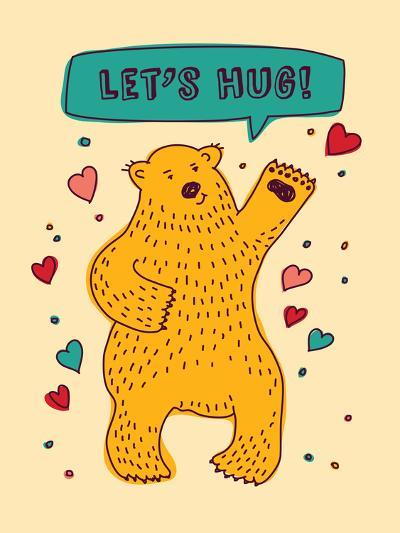 Bear with Sign Lets Hug and Hearts Greeting Card-Karrr-Art Print