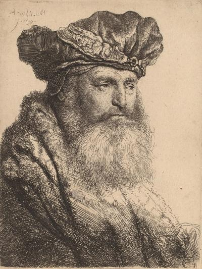 Bearded Man in a Velvet Cap with a Jewel Clasp, 1637-Rembrandt van Rijn-Giclee Print
