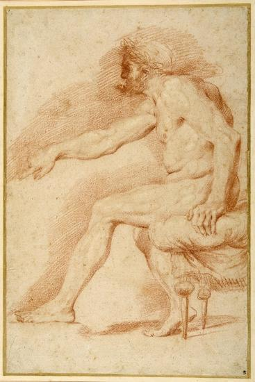 Bearded Nude Seated on a Couch All'Antica-Andrea Sacchi-Giclee Print