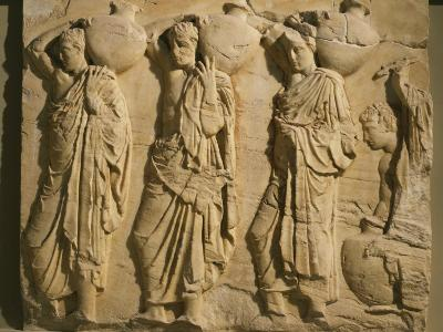 Bearers Carrying Hydria, the Parthenon Frieze (East Side), c. 442-38 BC Classical Greek--Photographic Print