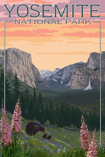 Bears and Spring Flowers - Yosemite National Park, California-Lantern Press-Art Print