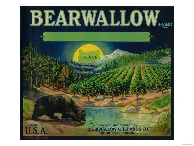 Bearwallow Apple Crate Label - Hood River, OR-Lantern Press-Art Print