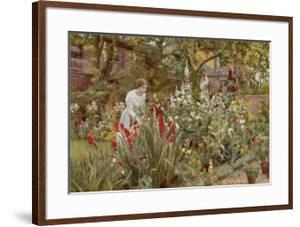 Mrs Spooner in Her Thames-Side Garden at Hammersmith West London by Beatrice Parsons