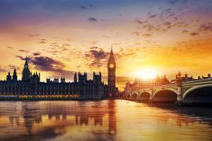 Big Ben and Houses of Parliament at Dusk, London, Uk by Beatrice Preve