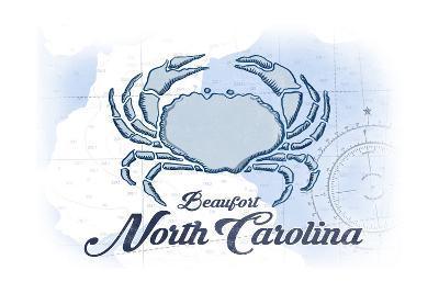 Beaufort, North Carolina - Crab - Blue - Coastal Icon-Lantern Press-Art Print
