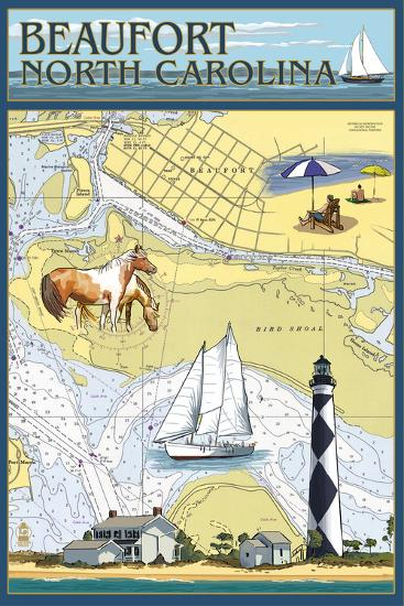 Beaufort, North Carolina - Nautical Chart-Lantern Press-Wall Mural