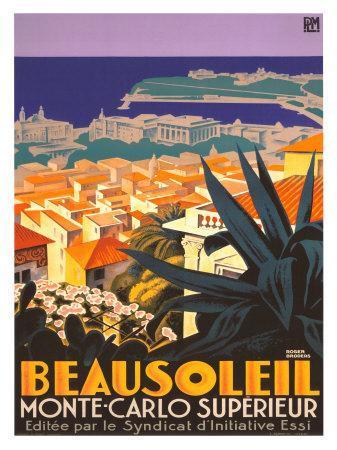 POSTER BEAUSOLEIL MONTE CARLO EUROPE TOURISM TRAVEL VINTAGE REPRO FREE S//H