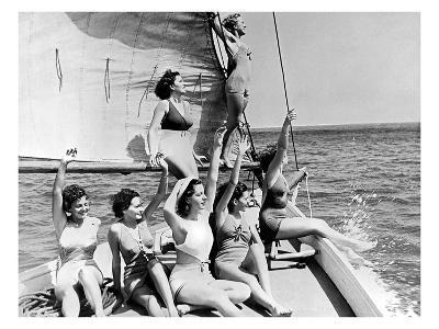 Beauties on sail boat-Underwood-Giclee Print