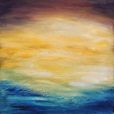Beautiful Abstract Textured Background of Evening Sunset Sky over the Ocean-Acik-Art Print