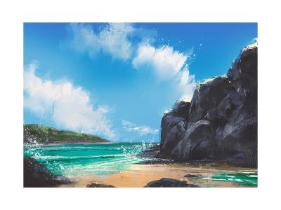 Beautiful Beach Summer Natural Outdoor,Digital Painting-Tithi Luadthong-Art Print