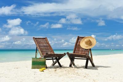 Beautiful Beach with Chaise Lounge-haveseen-Photographic Print