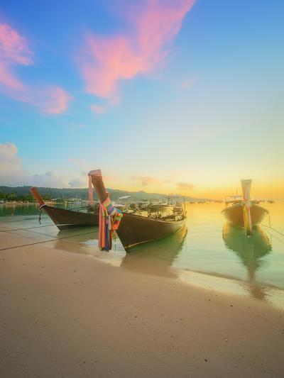 Beautiful Beach with River and Colorful Sky at Sunrise or Sunset, Thailand-Hanna Slavinska-Photographic Print