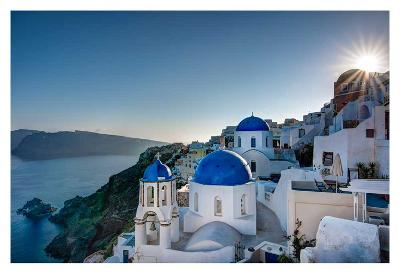 Beautiful blue domes of Santorini, Greece-Nick Jackson-Art Print