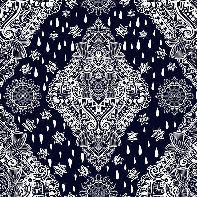 Beautiful Bohemian Floral Paisley Seamless Ornament. Folk Henna Tattoo Style Seamless Pattern. Indi-Katja Gerasimova-Art Print