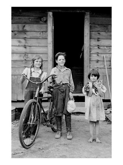 Beautiful Children with Bike and a Cat-Dorothea Lange-Art Print