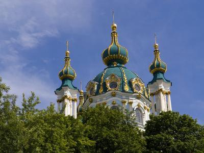 Beautiful Dome Church, Klovskiy Spusk Downtown, Kiev, Ukraine-Bill Bachmann-Photographic Print