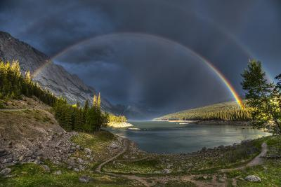 Beautiful Double Rainbow over Scenic Medicine Lake, Jasper National Park in the Canadian Rocky Moun- BGSmith-Photographic Print
