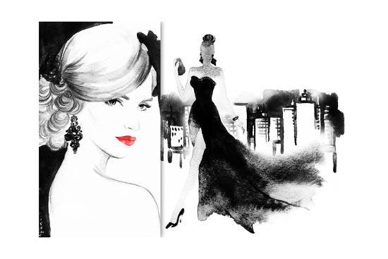 Beautiful Face Woman With Elegant Dress Abstract Watercolor Fashion Background Art Print By Anna Ismagilova Art Com
